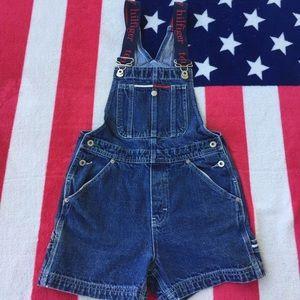 Vtg Tommy Hilfiger Girls Denim Overall Shorts/Sz L